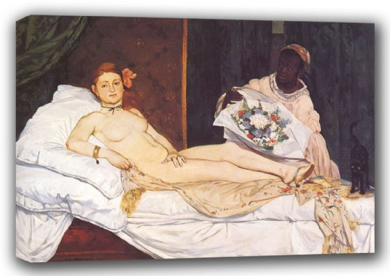 Manet, Edouard: Olympia, 1863. Fine Art Canvas. Sizes: A3/A2/A1 (00681)